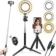 15.24 cm 自拍环灯带三脚架和手机支架和自拍杆,适用于实时流/摄影/化妆,可调光 LED 环形灯 3 种模式,10 种亮度等级,适用于 TikTok/YouTube (*)