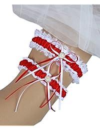 MerryJuly 蓝色蕾丝缎面新娘袜带 2 件套珍珠婚礼袜带 Toss Away