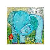 """Trademark Fine Art Wyanne""""All Is Well Elephant""""帆布 24x24 ALI8101-C2424GG"""