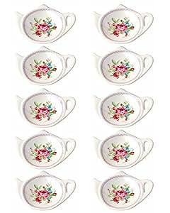 白色陶瓷带花朵装饰茶壶形状茶包杯垫,勺托;经典茶托(5 件) 10 件 每包10条 unknown