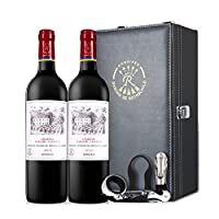 拉菲罗斯柴尔德 凯萨天堂古堡AOC干红葡萄双支皮盒带酒具(法国进口红酒)