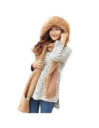 韩版可爱双层毛绒加厚保暖三件套秋冬女围巾帽子手套一体 颜色多选