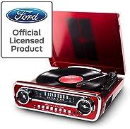 Ion Audio Mustang LP 福特 4 合 1 经典汽车样式音乐中心,红色