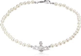 Vivienne Westwood 英国品牌 DIAMANTE ORB/PEARLS791516B/1项圈银白色791516B/1