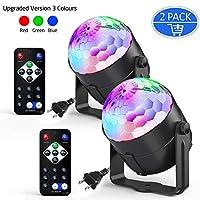 2 件装 Ezire 声控派对灯,带遥控 Dj 照明,RGB 迪斯科球,闪光灯,5W 7 种模式 LED 舞台灯,适用于家庭户外假日舞会