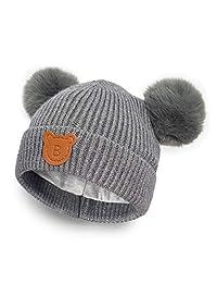 Happy Tree Baby 冬季保暖针织帽棉质内衬幼儿无檐小便帽儿童毛球帽(6 个月 - 18 个月)