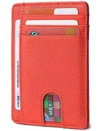 超薄极简主义前口袋RFID 屏蔽皮革钱包,男女皆宜