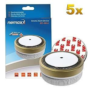 5 x Nemaxx6 M1 - Mini *雾探测器金色 – fotoelektrischer DC3V型后获得 VDS 标准带锂电池 – 和 DIN EN 14604 + 5 x Nemaxx6 magnethalterung
