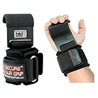 Grip 动力垫重型 PRO 金属升降钢钩*强重量提升套装 2 件套优质加厚锻炼钩手套