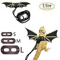 SSRIVER 可调节蜥蜴皮带 Reptile Harness Bearded Dragon Leash 壁虎牵引绳 带翅膀 小动物皮带 (S 码,L 码,3 件装)