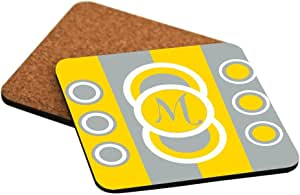 """Rikki Knight """"M"""" Initial Freesia Yellow - Circle Designs Design Cork Backed Hard Square Beer Coasters, 4-Inch, Brown, 2-Pack"""