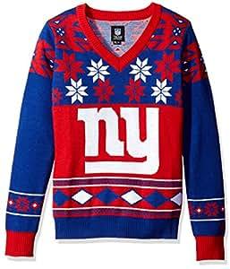 NFL 女式 V 领毛衣,纽约巨人队,XL 码