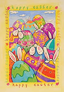 Toland Home Garden Peek a Boo Bunny 12.5 x 18 Inch Decorative Happy Easter Painted Egg Rabbit Garden Flag