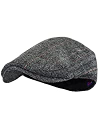 Wonderful Fashion 男式经典人字呢花呢羊毛混纺纽带象牙帽(L 码/XL 码,炭灰色)