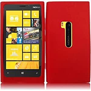 HR Wireless Nokia Lumia 920 Silicone Skin Protective Cover - Retail Packaging - Red