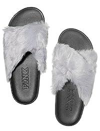 维多利亚的秘密粉色灰色人造毛皮十字交叉拖鞋 - M 号 (7-8)