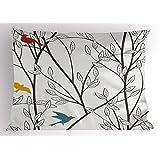 自然带枕套 ambesonne 小鸟野生动物卡通 LIKE 图像与 Tree 叶艺术印刷品装饰性标准尺码印花枕套灰色栗色蓝色和芥末黄