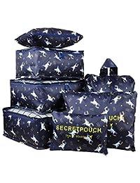 7 件防水旅行储物袋衣服包装立方收纳袋