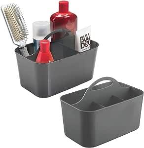 mDesign 塑料便携式收纳收纳袋实用小袋,分隔的带提手收纳盒,适用于浴室、宿舍房间 - 可容纳洗手液、沐浴露、洗发水、护发素、乳液 - 小号 炭灰色(Charcoal Gray) 2片装 06415MDBST