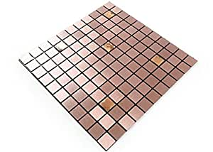 ROSEROSA 即剥即贴金属后挡板厨房,墙砖铝表面:5 件装 Metal-401 11.81 inch X 11.81 inch 43237-2