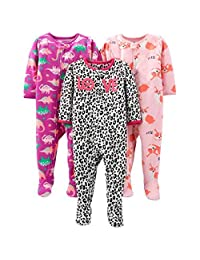 Simple Joys by Carter's 婴儿和学步女童 3 件装宽松抓绒连脚睡衣