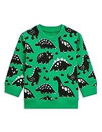 EULLA 男童运动衫幼儿男孩恐龙衣服婴儿套头毛衣儿童套衫适合 1-7 岁男孩使用 Dinosaur-green 3-4T