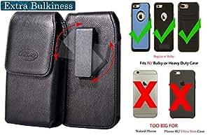 zzbag 高级黑色垂直磁性人造皮革钱包式保护套旋转皮带扣袋皮套 LG Q6+