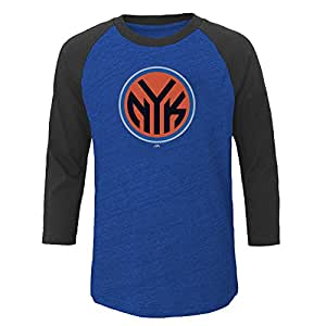 NBA 纽约尼克斯队儿童中性 NBA 青年 3/4 插肩袖,带屏幕,XL,Roy Hth/Cha Hth