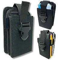 双口袋手机皮套。 尼龙结构,可调节快速释放搭扣。 可携带两个手机、面罩、记事本、便携式充电器、绝缘泵、笔灯、多用途刀或实用刀。