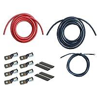 Inverter Cable Kit 自动 黑色 2 Gauge Cable 10 ft Black +10 ft Red