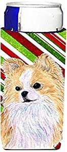 Chihuahua Candy Cane Holiday Christmas Michelob Ultra Koozies for slim cans SS4542MUK 多色 Slim