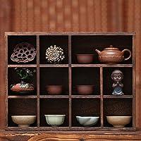烧桐木 茶具收纳柜 实木茶具架 茶壶茶杯架 小博古架 壁挂多宝格 (小号多宝格(长40CM*7.5CM宽*30CM高))
