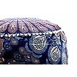 Art Box Store 蓝色多色软垫套印度脚凳套复古儿童座椅软垫套 Pouffe 圆形地板靠垫套