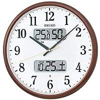 セイコークロック 掛け時計 茶メタリック 本体サイズ:直径35.0x5.2cm 電波 アナログ カレンダー温度 湿度 表示 BC405B