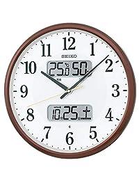 Seiko 精工 挂钟 01:棕色金属 01:直径35厘米 无线电波模拟 日历温度/湿度显示 BC405B