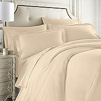 Clara Clark 全套 7 件套床上用品套装包括床笠和床单、羽绒被、枕套 奶油色 King B0041MM29U