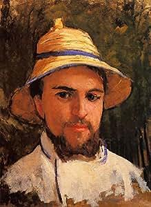 "OdsanArt 30.48 x 40.64 厘米印象派肖像人""自我肖像(片段)(也称作自肖像穿着夏季帽)由 Gustave Caillebotte 艺术油画印刷品"