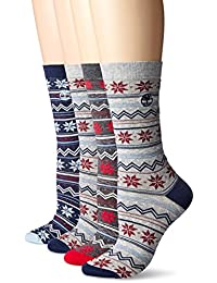 Timberland 女式复古风格棉质船袜4件装什锦