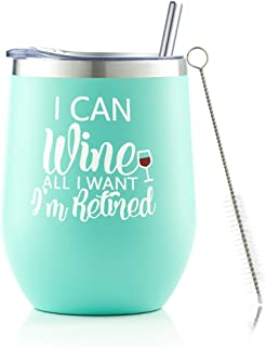 女士退休礼物,I Can Wine All I Want I'm Retired 12盎司不锈钢隔热玻璃杯,趣味恶作剧退休再见礼物送给奶奶老师同事朋友妻子妈妈*