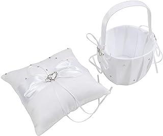 绸缎/珍珠/水钻象牙白戒指熊枕和花篮套装 2 Hearts White IMC