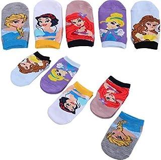 5 双公主儿童袜子带抓地力(5 双)贝儿,白雪白,局部,灰姑娘和艾莎