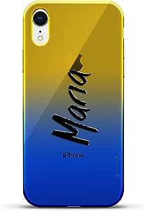 奢华设计师,3D 印花,时尚,高端,高端,Chameleon 变色效果手机壳 iPhone XrLUX-IRCRM2B-NMMARIA1 NAME: MARIA, HAND-WRITTEN STYLE 蓝色(Dusk)