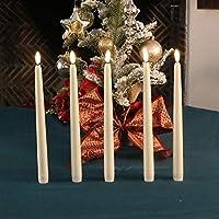 5 件套无焰 LED 象牙白 25.4 厘米锥形蜡烛,逼真黑色烛芯,带每日定时遥控器