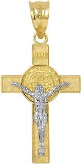 Saint Collection 纯色 10k 双色金圣本尼迪克十字架吊坠(3.3 厘米)