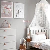 鲨鱼床顶篷网适用于儿童婴儿床,圆形圆顶儿童室内户外城堡游戏帐篷挂房装饰阅读台面棉 白色