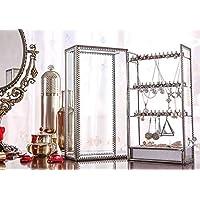 口红支架高级透明玻璃化妆收纳盒铜复古透明风格展示梳妆台和可拆卸隔板 21 个空间 Earring Holder
