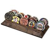3 排挑战硬币夹 - *硬币展示架 - 令人惊叹的军事挑战硬币支架 - 可容纳 14-19 硬币 3 排在美国制造! (纯核桃)