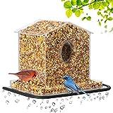 鸟类喂食器,大号,带吸盘和种子托盘,单独的饮水水槽和木柱支撑,防水,带防护罩顶和排水孔,户外丙烯酸鸟舍(30.48 厘米) 大