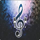 Rikki Knight Blue Music Notes on Smokey Background Design Double Toggle Light Switch Plate