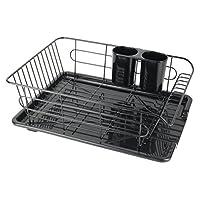 パール金属 食器 水切り かご 水が流れる トレー付 ブラック 黒 アルデオ HB-3467